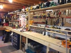Woodworking Shop Design >> Garage Organization Ideas with Enthralling Shelves and Cabinet. Garage Wall Storage, Garage Storage Systems, Garage Walls, Garage Organization, Organization Ideas, Storage Ideas, Garage Closet, Barn Garage, Garage Shelving