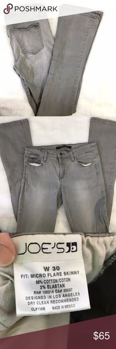 "Joe's Jeans Grey Micro Flare Denim Tall Long Hey tall girls! 33 1/2"" inseam on these great grey jeans; they have a tiny flare to them so you can get back on trend with your denim! No flaws, excellent condition, skinny fit other than micro flare hemline. Joe's Jeans Jeans Flare & Wide Leg"