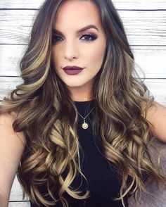 Long Curled Dark Brown Locks with Sunflower-Blonde Balayage