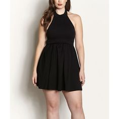 Rebdolls Black Don't Go Skater Dress ($33) ❤ liked on Polyvore featuring plus size women's fashion, plus size clothing and plus size dresses