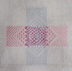 Darning sampler 1892 - A fancy darn with different patterns in the arms of the cross Kintsugi, Embroidery Motifs, Cross Stitch Embroidery, Embroidery Techniques, Sewing Techniques, Sewing Crafts, Sewing Projects, Visible Mending, Make Do And Mend