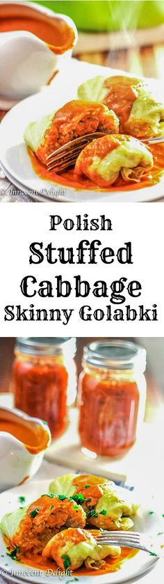 Polish Stuffed Cabbage Rolls are one of the most popular Polish dishes. The skinny version uses ground turkey instead of pork or beef.