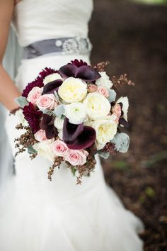 (Nice bouquet with ranunculus and burgundy callas. The filler flowers that are linear make this a more unique bouquet.) Photo by JaneCane Photography, Floral Design by A Day in Provence Pink Fall Weddings, Plum Wedding, Rustic Wedding Flowers, Fall Wedding Bouquets, Fall Wedding Colors, Autumn Wedding, Floral Wedding, Wedding Day, Elegant Wedding