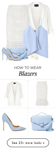 """White Lace Pencil Skirt"" by majezy on Polyvore featuring River Island, Cynthia Rowley, Gianvito Rossi and Ippolita"