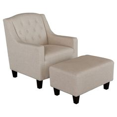 A classic addition to your living room seating group or master suite ensemble, this stylish arm chair and ottoman showcase beige upholstery and dark espresso...