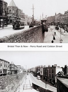 Bristol Then & Now - Perry Road and Colston Street