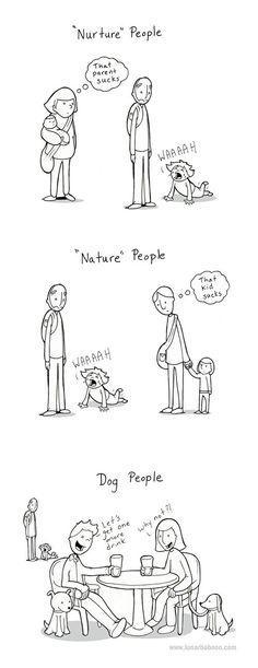 "Difference between ""nurture people"" and ""dog people"""