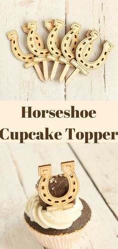 Horseshoe Cupcake Topper Lucky Horseshoe Wedding Decor Equestrian Bridal Shower Wedding Cupcake Toppers #afflink