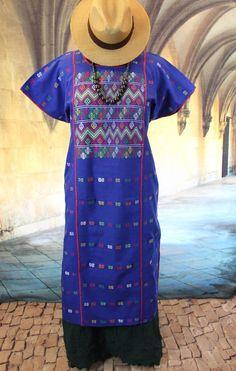 Blue Amuzgo Huipil Dress Hand woven, Mexican Vintage Style Hippie Boho cowgirl #Handmade #HuipildressHuipilMexicanDress