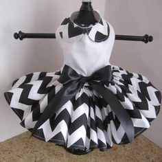 White With Black Chevron Dog Dress – Bark Label