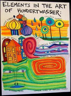 Male wie Friedensreich Hundertwasser. Pattern, rhythm, repetition, color #artideas Friedensreich Hundertwasser, Elements And Principles, Elements Of Art, Classe D'art, Art Du Collage, Op Art, Deep Space Sparkle, Kunst Poster, 5th Grade Art