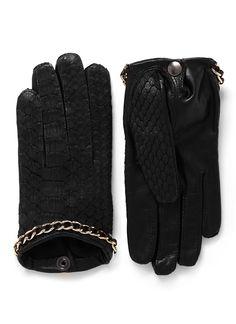 MAISON FABRE - 'Sasha' chain python leather gloves | Black Short Gloves | Womenswear | Lane Crawford