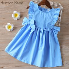 Humor Bear Baby Summer Dress 2020 Brand New Girls' Clothing Ruffle Sleevele Princess Frocks Big bow Fashion Kids Baby Girl Dress Baby Summer Dresses, Toddler Flower Girl Dresses, Dresses Kids Girl, Toddler Dress, Kids Outfits, Cute Baby Dresses, Family Outfits, Flower Girls, Frock Design