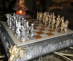 Medieval Knight Dragon Chess. Unique chess set.
