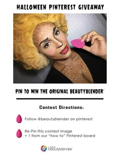 Halloween Giveaway! Follow the instructions on this pin for a chance to win the original pink beautyblender! 3 winners will be chosen on Halloween day. Happy pinning!
