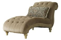 """The Parkington Bay - Platinum Chaise from Ashley Furniture HomeStore (AFHS.com). With the beautifully shaped padded rolled arms along with the antique finish of the ornate scrolling details, the """"Parkington Bay-Platinum"""" upholstery collection perfectly captures the rich detail of Old World designed furniture without sacrificing the comfort you deserve."""