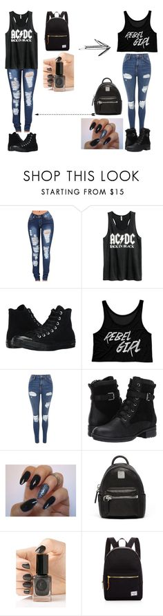 """Back to School: The Punk Rocker and The Rebel"" by kaylamoraled on Polyvore featuring H&M, Converse, Topshop, Blondo, MCM, Cirque Colors and Herschel Supply Co."