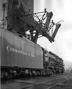 Classic Trains magazine photo of the day: Chesapeake Ohio Allegheny type No. 1624 takes on fuel at the massive coal dock in Thurmond, W. Diesel Locomotive, Steam Locomotive, Engine House, Train Pictures, Old Trains, Train Engines, Steam Engine, Train Tracks, Train Station