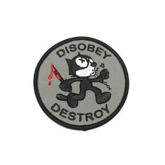 wide embroidered patch with an iron-on backing. Funny Patches, Cool Patches, Pin And Patches, Ww2 Propaganda Posters, Bag Pins, Felix The Cats, Custom Patches, Tactical Patches, Morale Patch