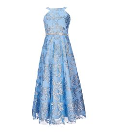 inhzoy Kids Girls Princess Floral Lace Dress Shiny Rhinestone Halter Maxi Romper Birthday Party Formal Gown