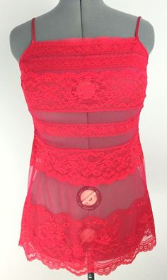 Victoria's Secret M Red Sheer Lace Babydoll Teddy Lingerie   eBay
