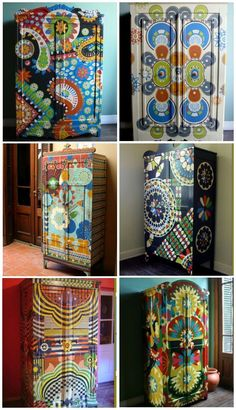 ☯☮ॐ DIY Hippie Crafts ~ Upcycled thrift repainted wardrobes!