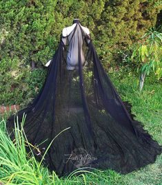 Extra Long Black Elven Cape by FireflyPath on Etsy