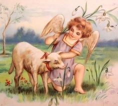 Free Image on Pixabay - Angel, Child, Christianity, Vintage Vintage Easter, Vintage Holiday, Resurrection Day, Easter Lamb, Beautiful Christmas Cards, Vintage Cards, Vintage Images, Christmas Inspiration, Vintage Postcards