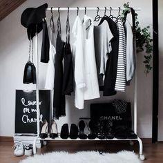 48 Trendy Black And White Closet Decor Clothes Racks Dressing Design, White Closet, Room Goals, Closet Space, My New Room, Capsule Wardrobe, Wardrobe Closet, White Wardrobe, Wardrobe Ideas