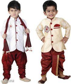 Sherwanis Kid's Boy's Sherwani's Fabric : Art Silk  Sleeves: Long Sleeves  Pattern: Solid  Multipack: 2 Sizes:  4-5 Years (Chest Size: 27 in)  5-6 Years (Chest Size: 28 in)  1-2 Years (Chest Size: 23 in)  3-4 Years (Chest Size: 25 in)  6-7 Years (Chest Size: 29 in)  2-3 Years (Chest Size: 24 in) 7-8 Years (Chest Size: 30 in) Country of Origin: India Sizes Available: 2-3 Years, 3-4 Years, 4-5 Years, 5-6 Years, 6-7 Years, 7-8 Years, 1-2 Years   Catalog Rating: ★4 (8555)  Catalog Name: Princess Elegant Kids Boys Sherwanis CatalogID_827120 C58-SC1172 Code: 074-5535302-