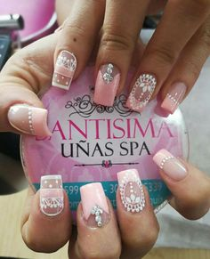 Lace Nails, Pink Nails, Fingernail Designs, Nail Art Designs, Marble Nail Art, Best Salon, Manicure E Pedicure, Easy Nail Art, Perfect Nails