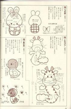 Jungle Friends - Digital stamps - Clipart Craft Patterns, Sewing Patterns, Diy Craft Projects, Diy Crafts, Woodland Creatures, Forest Friends, Felt Dolls, Felt Animals, Digital Stamps