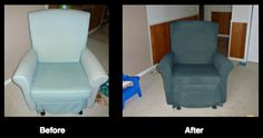 Check out this awesome chair transformation by @Sarah Welte, accomplished with Charcoal Grey Simply Spray Upholstery Fabric Paint!