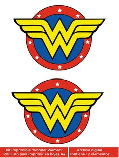 Wonder Woman printable kit (wonder woman) Pack for birthday parties, baby shower, first year, party kit, DC Super Hero Girls: Super Hero High Wonder Woman Birthday, Wonder Woman Party, Birthday Woman, Baby Birthday, Super Hero High, Dc Super Hero Girls, Wonder Woman Logo, Party Kit, Anniversaire Wonder Woman