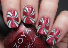 Good morning, readers! I recently chopped my nails down and thought of this cute nail art idea that, to me, looked better on my shorter nails because it more closely resembled the peppermint swirl candy…