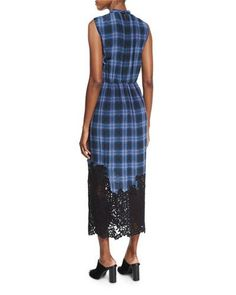 TD0H3 Rebecca Taylor Lace-Hem Plaid Sleeveless Dress, Violet Stone Combo