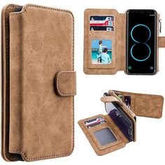Samsung Galaxy Case, by Insten Detachable Magnetic Flip Leather Wallet Pouch Case Cover For Samsung Galaxy - Brown