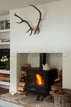 Plain opening with a natural stone hearth and enough room for logs around