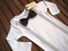 Long Sleeve Brown Bow Tie Onesie with Gray Chevron Suspenders, Suspender Onesie, Bow Tie Onesie, Baby Suspenders, Baby Bowtie Onesie on Etsy, $19.50