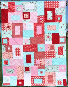 Toss Up Quilt- Red, Pink, and Aqua -  Toddler Quilt, Lap Quilt. $150.00, via Etsy.