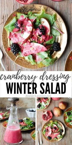 Warm Cranberry Honey Dressing with Winter Salad is bursting with great flavors and textures. An easy salad dressing recipe makes it a festive salad you'll want all winter long. Winter Salad Recipes, Best Salad Recipes, Healthy Salad Recipes, Gluten Free Salad Dressing, Salad Dressing Recipes, Easy Thanksgiving Recipes, Christmas Recipes, Honey Dressing, Easy Salads