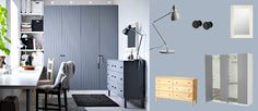 PAX white wardrobe with RISDAL medium grey doors and TARVA pine chest of drawers painted grey