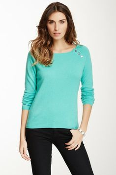 Button Detail Cashmere Sweater by In Cashmere