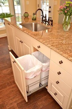 Under Cabinet Trash Containers to separate trash & recycling