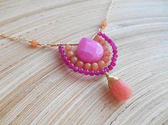 Eveline gemstone beaded necklace boho wire wrap cluster