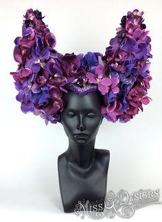 Purple Orchid Horned Headdress by MissGDesignsShop on Etsy