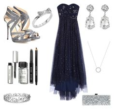 """""""Silvery night."""" by whereangelscry on Polyvore featuring Kenneth Jay Lane, Effy Jewelry, Notte by Marchesa, Jimmy Choo, Edie Parker, Bobbi Brown Cosmetics, Kate Spade, Michael Kors, women's clothing and women"""