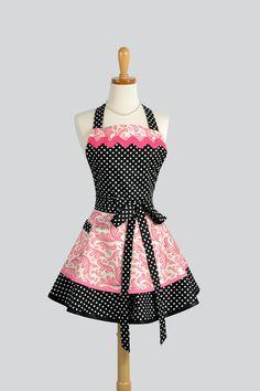 Apron Ruffled Retro Apron - Cute Apron in Pink Swirls Black Polka Dots Flirty Kitchen Apron Cute Apron Personalize or Monogram