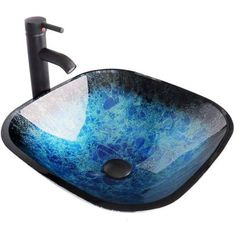 Elecwish Square Artistic Tempered Glass Vessel Sink Combo with Oil Rubber Bronze Faucet & Pop up Bathroom Bowl Ocean Blue Compression)