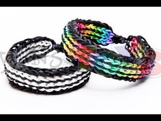 Rainbow Loom TWIN STRIPE Bracelet. Designed and loomed by Rob at justinstoys. Click photo for YouTube tutorial. 03/21/14